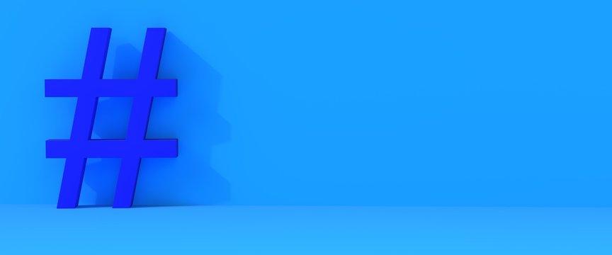 Hashtag blue background
