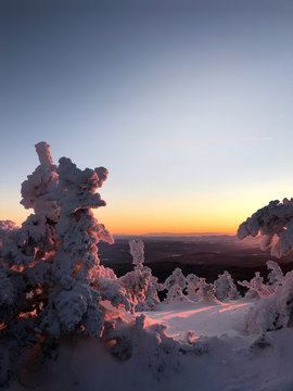 wintry sunset in the mountains