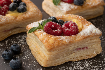 Fruit Pastry Food Stock Photography with Raspberries, Blueberries, Mint and Custard
