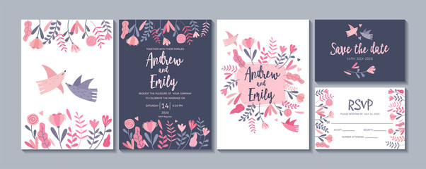 Wedding invitation card templates with cute flowers and birds. Save the date, RSVP cards Fototapete