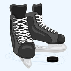 Men's skates for hockey and ice skating. Vector color illustration that can be used as an emblem or sticker, for textile or print.