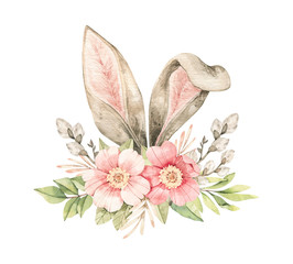 Watercolor botanical illustration. Spring bouquet with Pink dog-rose blossom, willow and bunny ears. Gentle rose, bud, branches, green leaves. Perfect for invitations, greeting cards, posters, packing