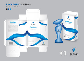 Packaging perfume template, box, product design creative idea template for cosmetics, bottle, Blue wave graphic concept, vector illustration Wall mural