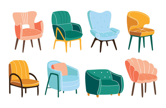 Comfortable armchairs vector bundle. Collection of stylish comfy furniture.