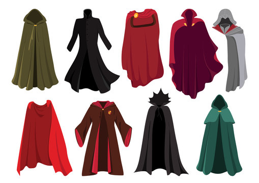 Vector set of cloaks. Cloaks party clothing and capes costume set.