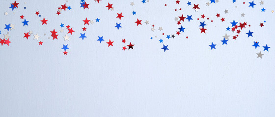 Happy Presidents Day banner mockup with confetti stars. USA Independence Day, American Labor day, Memorial Day, US election concept. Fotomurales
