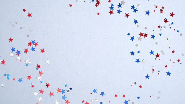 Independence day USA banner mockup with confetti stars in American national colors. USA Presidents Day, American Labor day, Memorial Day, US election concept.