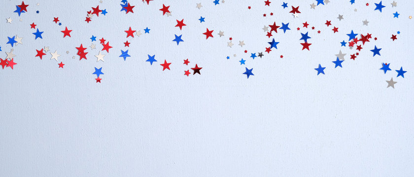 Happy Presidents Day banner mockup with confetti stars. USA Independence Day, American Labor day, Memorial Day, US election concept.