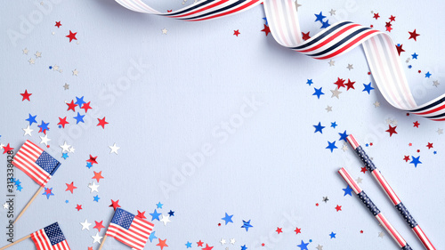 Independence day USA banner mockup with American flags, drinking straws, confetti and ribbon. USA Presidents Day, American Labor day, Memorial Day, US election concept.