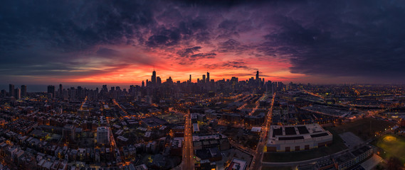 Chicago Aerial panorama from west
