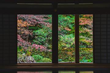 扉、床、畳などを使って秋の風景を切り取った写真   南禅院 京都