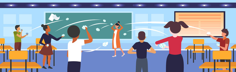 pupils demonstrating bad behavior throwing papers mocking and teasing female teacher during lesson bullying public disapproval concept school classroom interior horizontal vector illustration