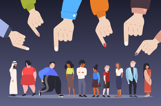 depressed people being bullied surrounded by fingers pointing on mix race men women violence victim of bullying mocking public disapproval censure concept full length horizontal vector illustration