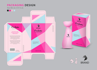 Packaging perfume template, 3d box, product design creative idea template for cosmetics, bottle, pink polygon graphic concept, trendy vector illustration Wall mural