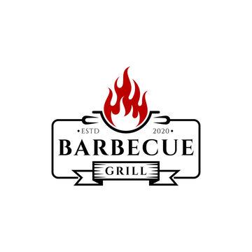 Vintage barbecue grill restaurant logo design. BBQ emblem / badges logo template