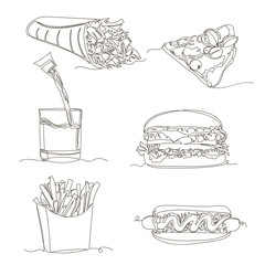 fast food. vector linear image of junk food. set of contour pictures. one line