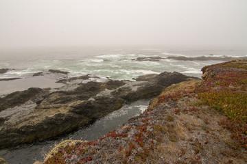 Papiers peints Cote Ocean cliff coastal landscape storm and fog .