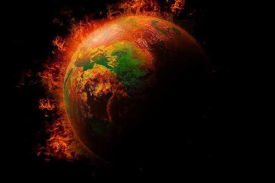 Global catastrophe and Global Warming  Pollution Concept / Global burning with fire - (Elements of this image furnished by NASA)