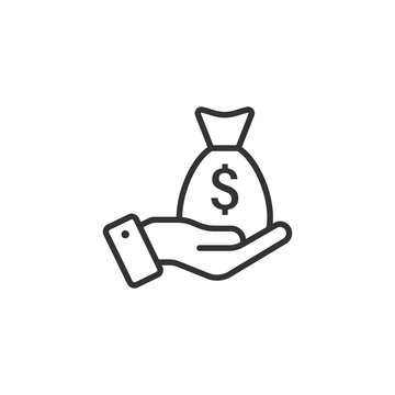 Remuneration icon in flat style. Money in hand vector illustration on white isolated background. Banknote payroll business concept.