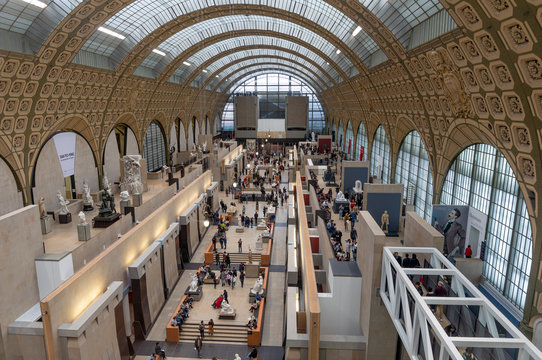 PARIS, FRANCE - JANUARY 1: Musee d'Orsay on January 1, 2020 in Paris.  Musee d'Orsay houses the largest collection of impressionist and post-Impressionist masterpieces in the world.
