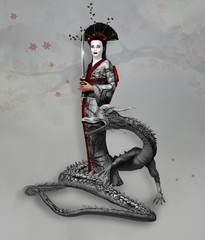 Warrior women: lady samurai in kimono holding a sword with a dragon at her feet