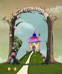 Easter celebration series: countryside landscape with a surreal egg-shaped house