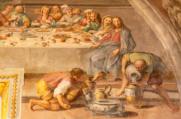 Wall Mural - ACIREALE, ITALY - APRIL 11, 2018: The detail of fresco of The miracle at the wedding at Cana in Duomo by Pietro Paolo Vasta (1735-1739).