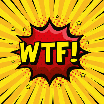 wtf expression sign pop art style vector illustration design