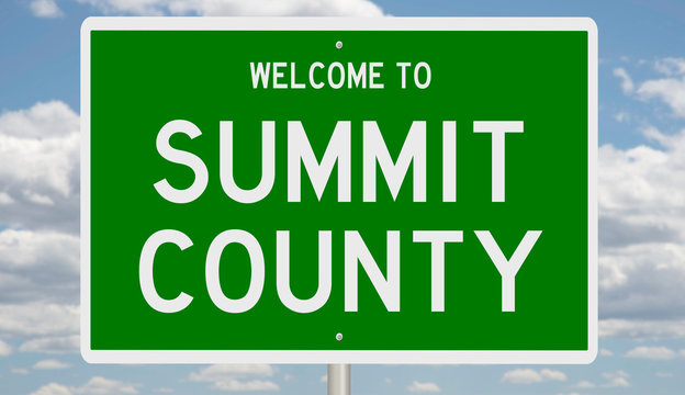 Rendering of a green 3d highway sign for Summit County