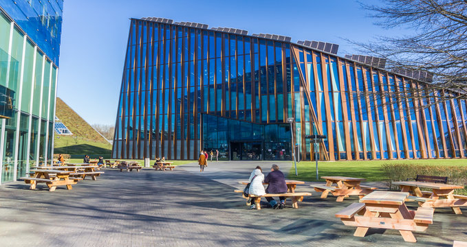 Panorama of modern architecture of the Zernike campus in Groningen, Netherlands
