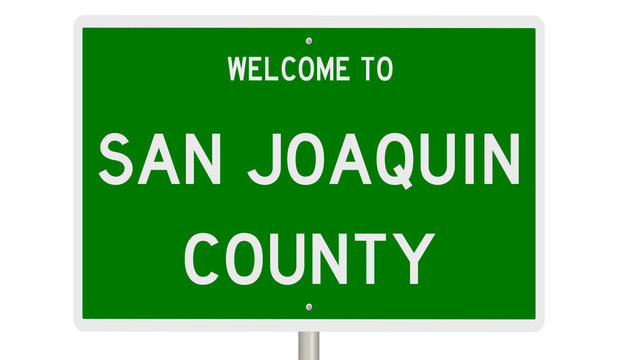 Rendering of a green 3d highway sign for San Joaquin County