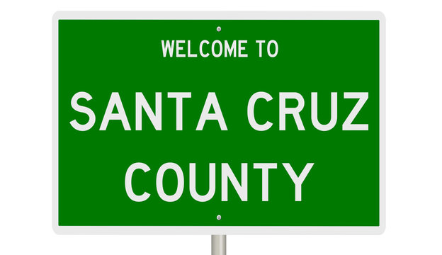 Rendering of a green 3d highway sign for Santa Cruz County