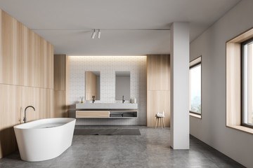 Foto auf AluDibond Individuell White tile and wood bathroom interior