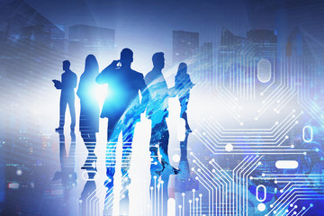 Fotobehang - Business people in night city, network interface