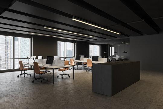 Dark gray open space office corner