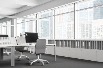 Workplace in panoramic white open space office