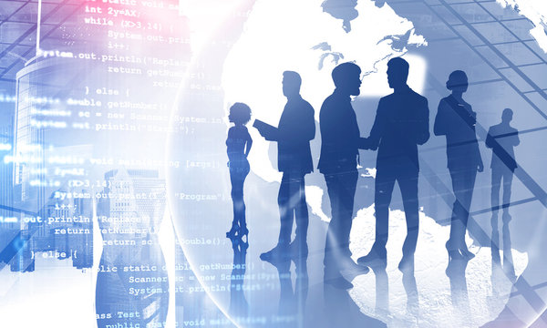 International coders team in global world