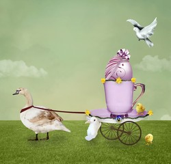 Enchanted Easter carriage in the shape of a coffee cup