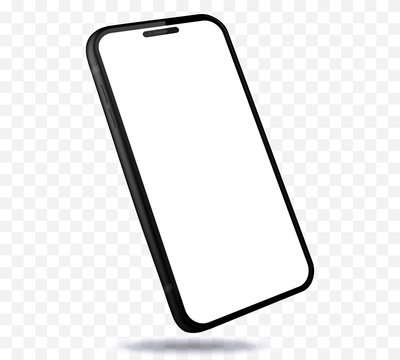 Mobile Phone New and Black Design Concept. Vector Smartphone Mockup With Perspective View. Isolated on Transparent Background.