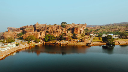 Fotobehang Vestingwerk view of historic town badami from cave temples