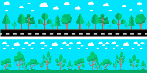 Cartoon city landscape with road and trees. Design element for poster, banner, flyer, animation, motion design. Vector illustration
