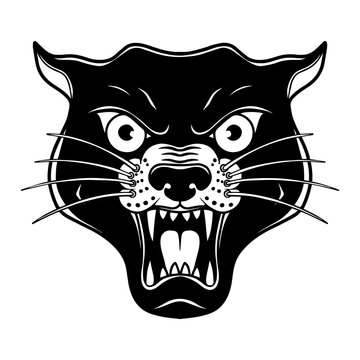 Illustration of head of panthera in old school tattoo style. Design element for poster, card, banner, sign, emblem. Vector illustration