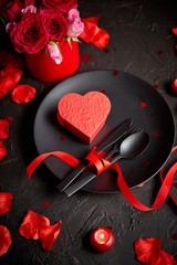 Valentines day, table setting and romantic dinner concept.