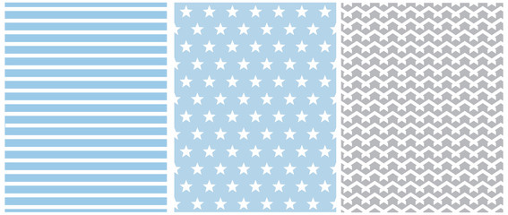 Pastel Color Seamless Geometric Vector Patterns. White Stars, Stripes and Chevron Isolated on a Blue Background. Simple Abstract Monochrome Vector Print for Fabric, Textile, Wrapping Paper.