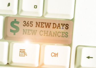 Handwriting text 365 New Days New Chances. Conceptual photo Starting another year Calendar Opportunities