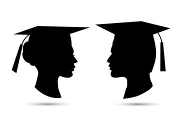 Graduation student profile vector illustration isolatedon white black silhouette