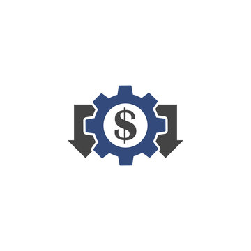 Cost reduction vector  icon on white isolated background.