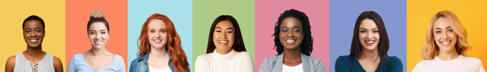 Collage of diverse multiethnic young women smiling over colorful backgrounds