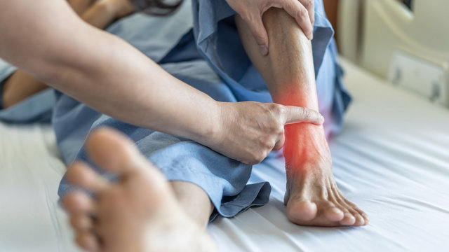 Ankle pain from instability, arthritis, gout, tendonitis, fracture, nerve compression (tarsal tunnel syndrome), infection and poor structural alignment of leg or foot in ageing patient with doctor
