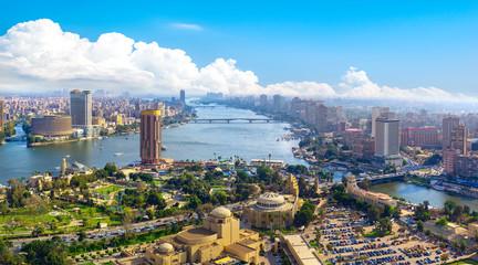 Autocollant pour porte Afrique Panorama of Cairo cityscape